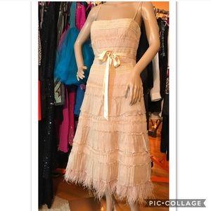 BCBG Silk Lace Ostrich Feather Dress Champagne 6